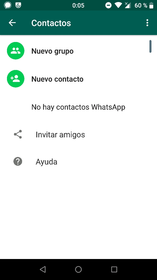 WhatsApp enseñando la lista vacía de contactos