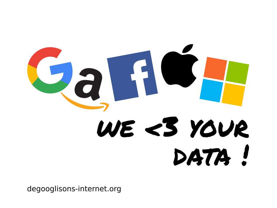 """Logos de Google, Amazon, Facebook, Apple y Microsoft formando la palabra GAFAM, y un subtítulo en inglés que dice """"¡amamos tus datos!"""""""